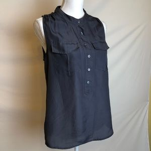 J Crew Navy Top 2 Pocket Button Down Size 6